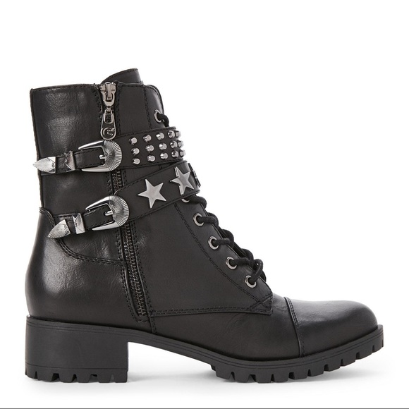 79b1288d41b G by Guess Andray Star Studded Combat Boots sz 6